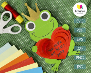 valentine frog svg
