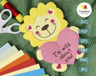 valentine lion svg
