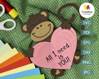 valentine monkey svg