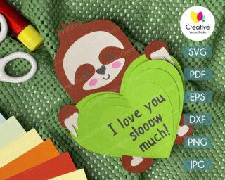 valentines sloth svg