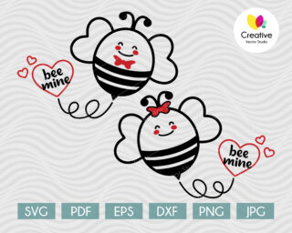 Bee Mine SVG Cute Couple of Bees in Love
