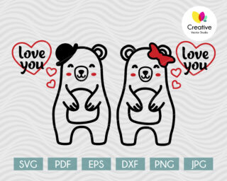 Cute Couple of Bears in Love SVG
