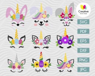 Easter Bunny SVG, Easter Unicorn SVG