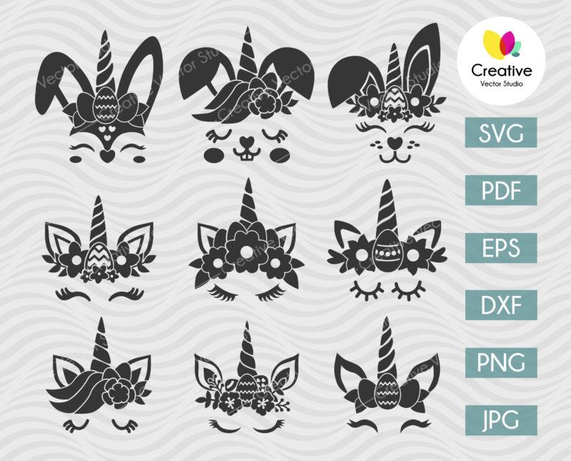 Easter Bunny Unicorn SVG, Easter Unicorn SVG
