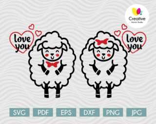 Cute Couple of Sheeps in Love SVG
