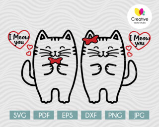 Cute Couple of Cats in Love SVG
