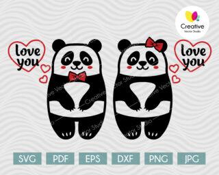 valentines couple of pandas svg