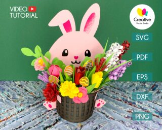 Cute Bunny with Paper Flower Bouquet SVG