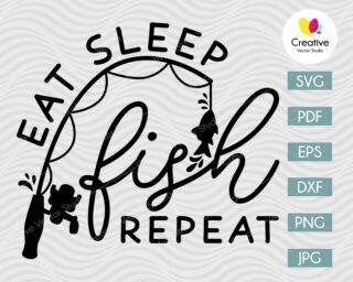 Eat Sleep Fish Repeat SVG
