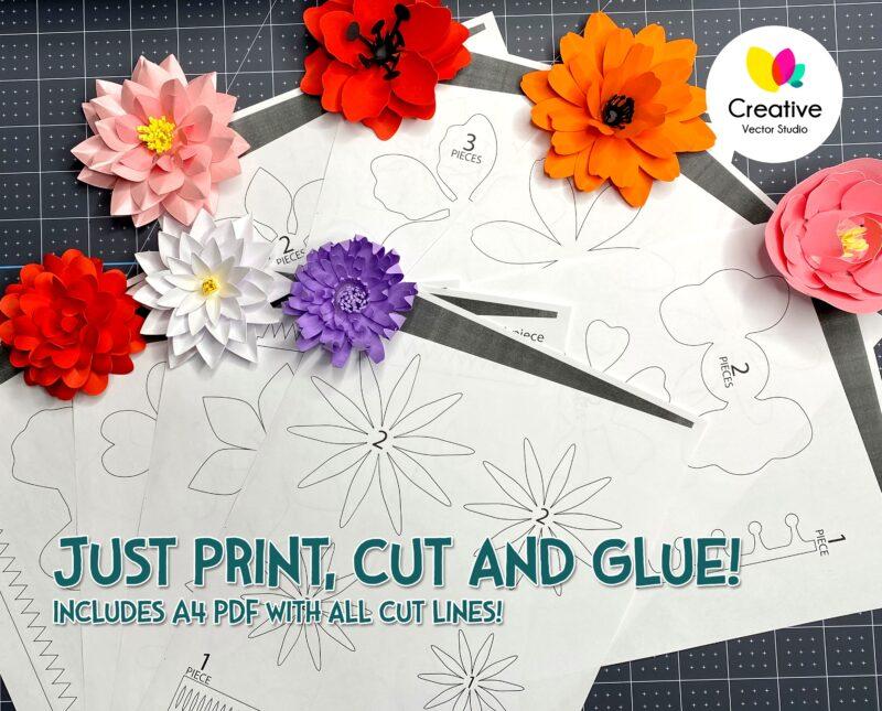 easy paper flower svg