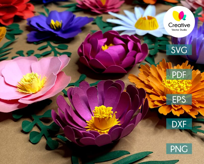 Paper flower svg cuting template