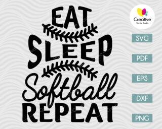 Eat Sleep Softball Repeat SVG