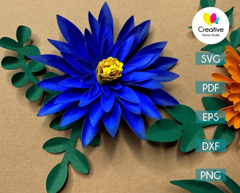 blue paper flower svg cuting template