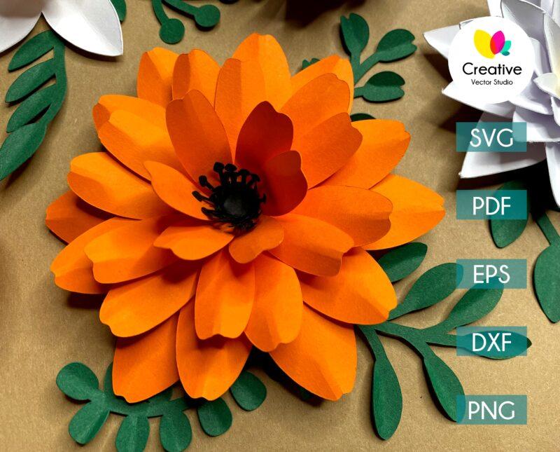 calendula paper flower svg cuting template