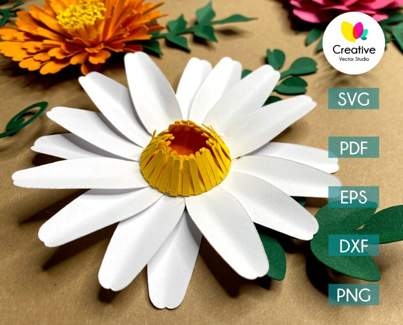 chamomile paper flower svg cuting template