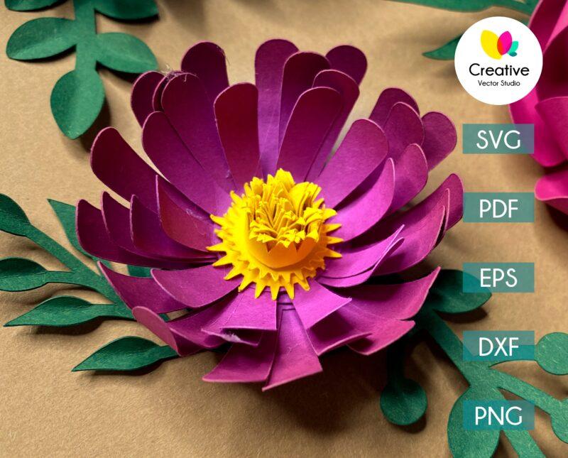 chrysanthemum paper flower svg cuting template