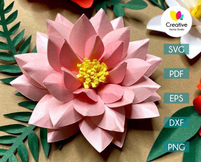 lotus paper flower svg cuting template