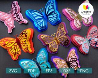 3D Paper Butterfly svg Bundle