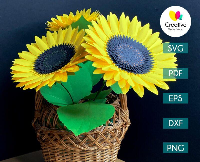 paper sunflower cut template