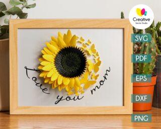 Paper Sunflower with Butterflies SVG