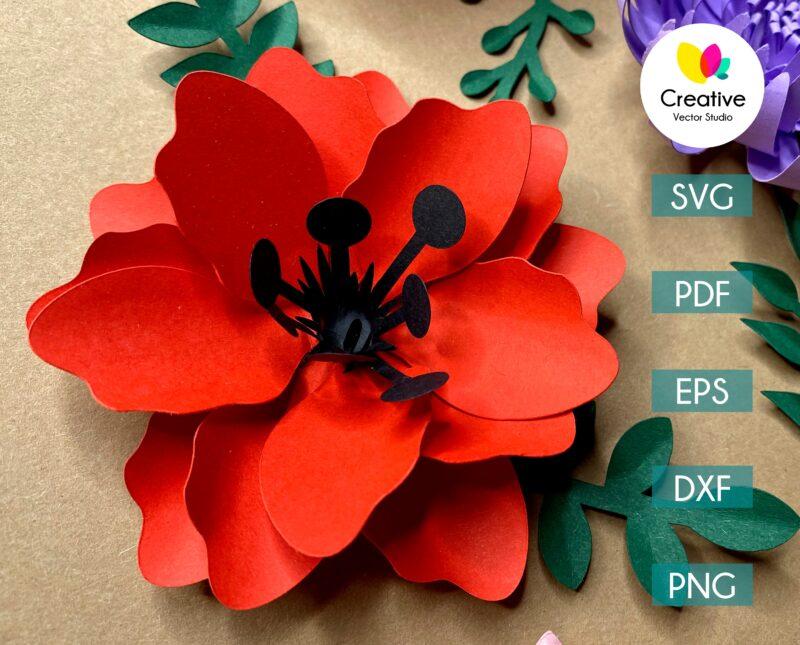 poppy paper flower svg cuting template