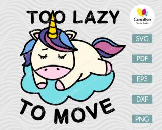 Too Lazy To Move Unicorn SVG