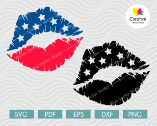 4th of July lips svg