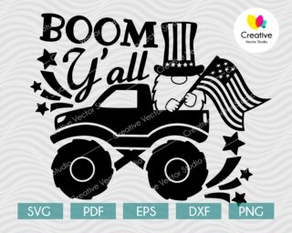 4th of July Truck with Gnome SVG