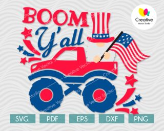 4th of July Patriotic Gnome In Truck SVG