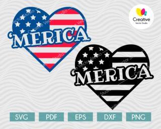 4th of July svg, Merica heart svg, Love USA svg