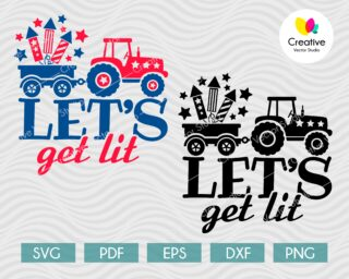 4th of July Tractor SVG
