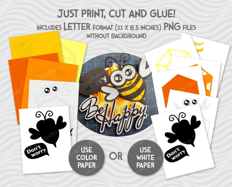 happy bee svg paper craft template
