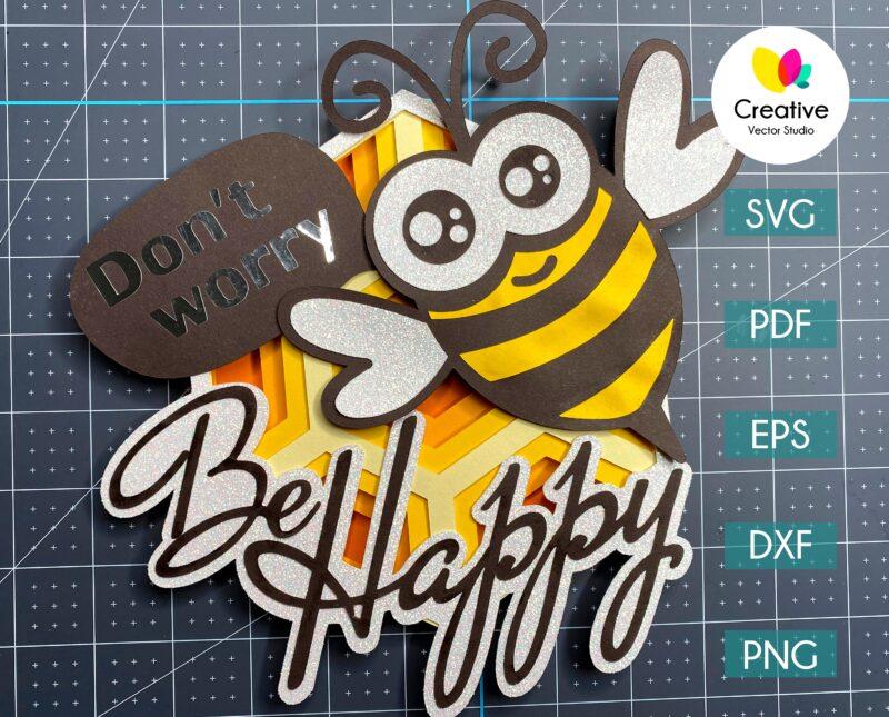 be happy bee svg