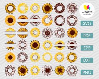 Sunflower Monogram SVG Big Bundle