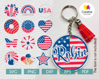 4th of July Keychain SVG Bundle