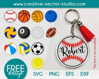 Free Sports Balls SVG Keychain Pattern