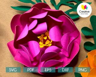 Peony SVG paper flower template