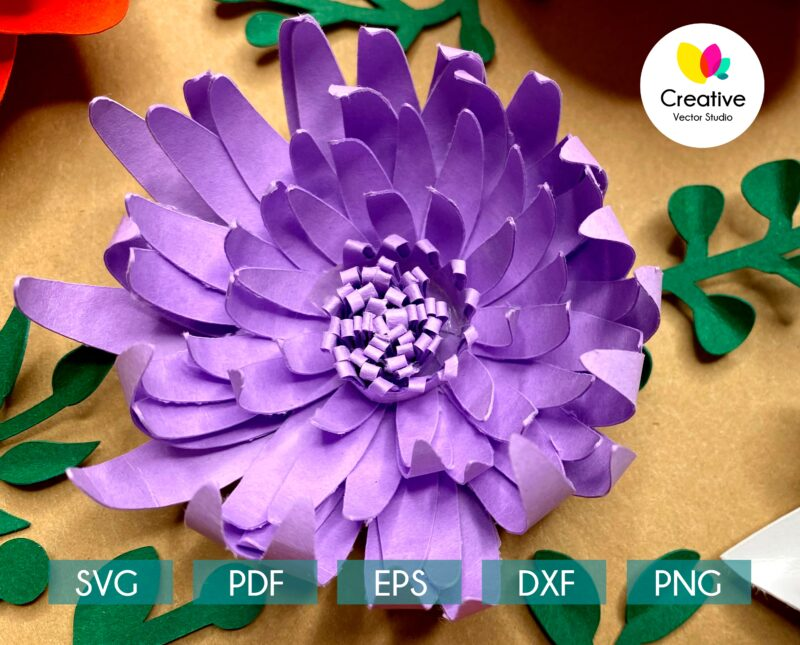 Chrysanthemum SVG paper flower template