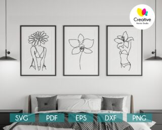 Flower Head Line Art Set