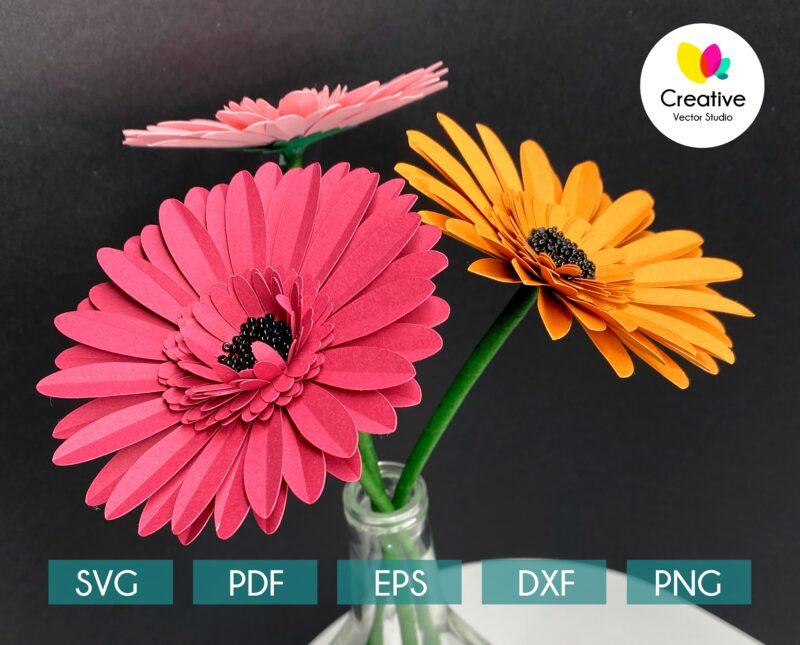 Gerbera SVG paper flower template