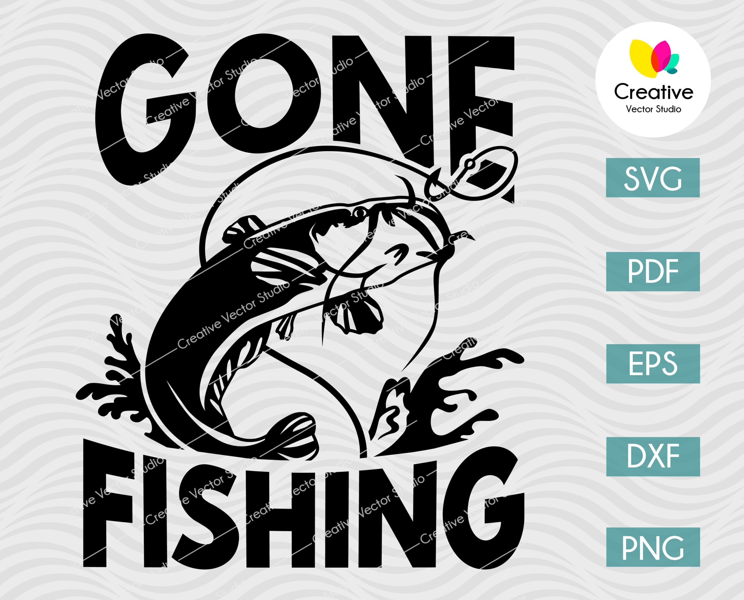 Download Gone Fishing Catfish Svg Png Dxf Cut File Creative Vector Studio