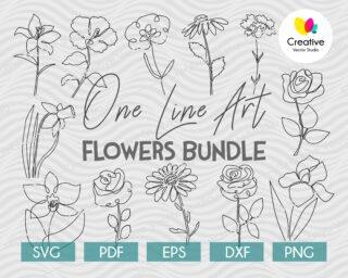 One Line Art Drawing Flower