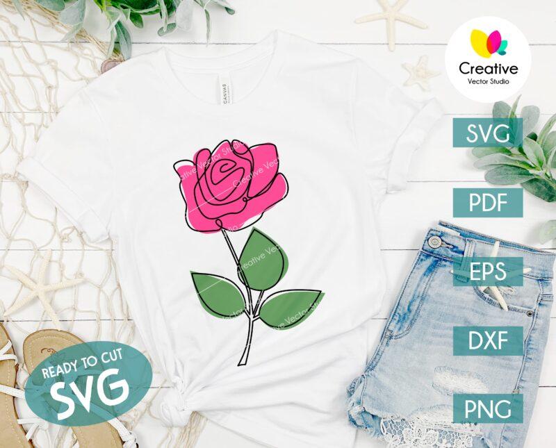 One Line Rose SVG