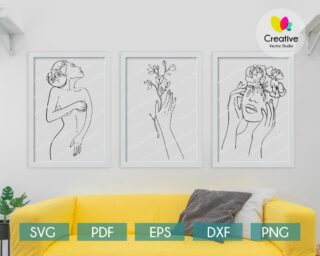 Set of 3 Nude Women One Line Drawing With Flowers