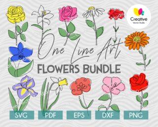 Flower One Line Drawing Set of 12 digital download designs