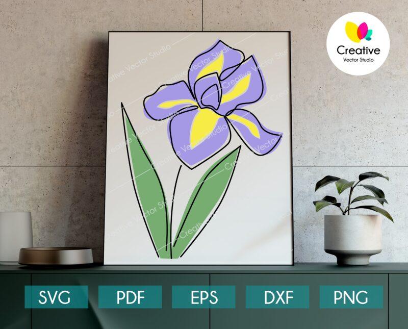 Minimalist one line drawing flower