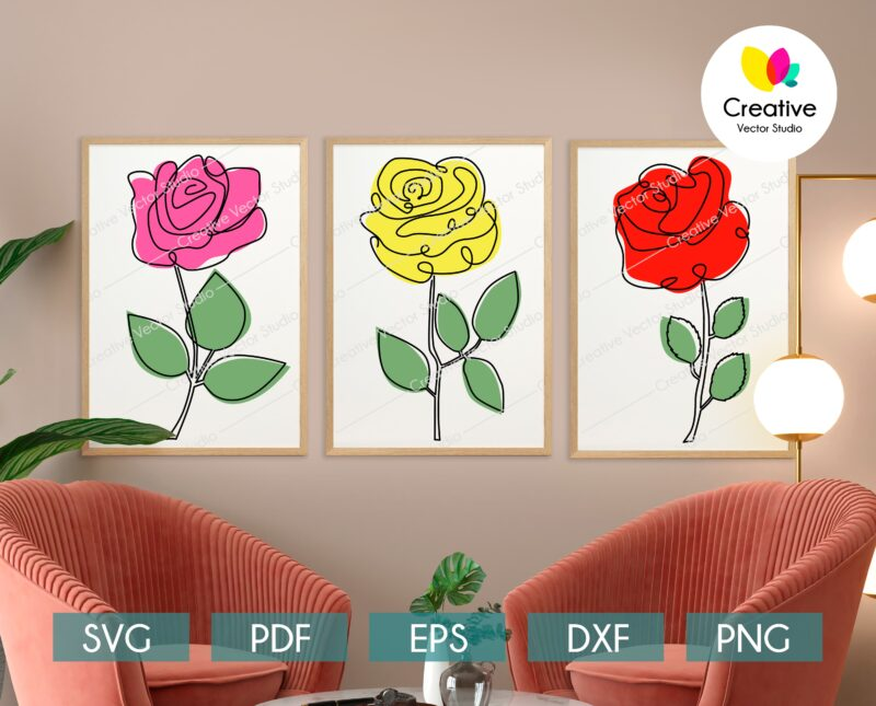 One Line Rose Wall Art