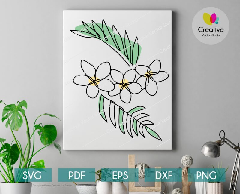 Abstract one line art tropical flower