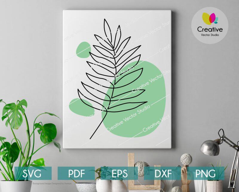 One line drawing areca palm leaf