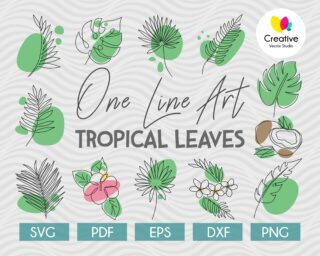 tropical leaves one line drawing set